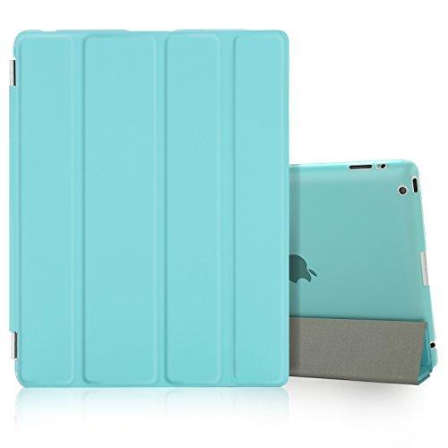 Besdata iPad 2 3 4 Hülle Smart Cover Schutz Case Leder Tasche Etui für Apple iPad Ständer Sleep Wake mit Displayschutzfolie Reinigungstuch Stift Tiffany-Blau