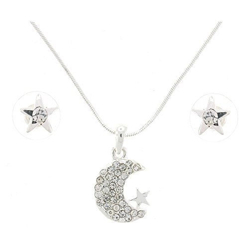 plateado-y-cristal-crescent-moon-and-star-lampara-de-techo-y-juego-de-pendientes-de