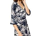 B.C. Best Connections modisches Batik-Look Damen Kleid mit Fransen Stretch-Kleid Jerseykleid Blau, Größenauswahl:44