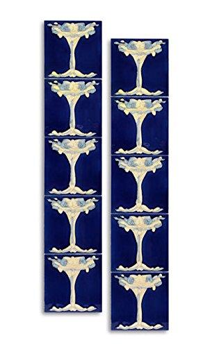 10x Fliese handbemalt Kachel Replika Antik-Stil Jugendstil Set (g)