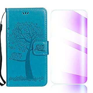 The Grafu Sony Xperia XZ Premium Case, Shockproof Leather Wallet Cover, Premium Magnetic Fip Case with Kickstand and Free Tempered Glass Screen Protector for Sony Xperia XZ Premium, Blue
