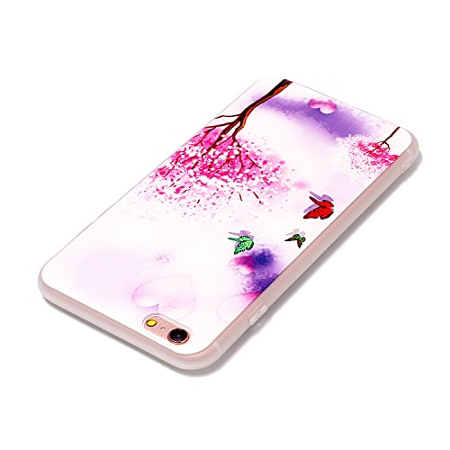 iphone 6S plus/6 plus 5.5 Cover Silicone, Custodia per iphone 6S plus Morbido, iphone 6 plus Cover Trasparente, Ekakashop Varnish Clear Coating Sollievo La pittura Fashion Colorato Modello 3d Gel Sil Albero di farfalla