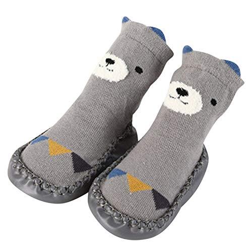 Fuibo Boden Socken, Kinder Kleinkind Baby Mädchen Jungen Cartoon Tier Dicke Warme Rutschfeste Socken Hausschuhe Baby Schritt Socken Hüttenschuh Socken (S(0-6 Monate), Grau) -