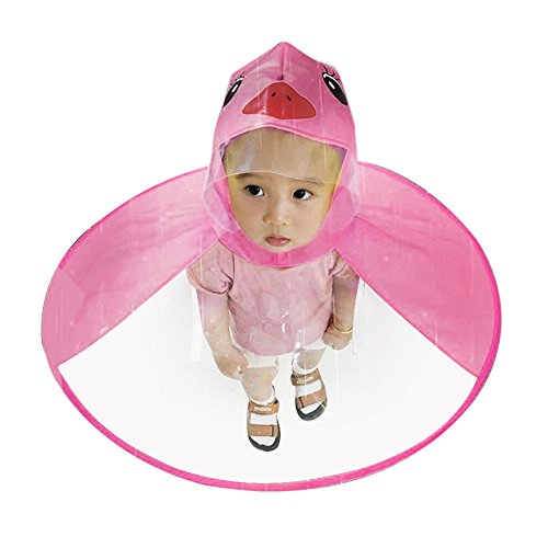 MA87 Cute UFO Children Magical Hands Rain Coat Hat Free Raincoat Umbrella (Hot Pink, S) (Pink Kid Zahnpasta)