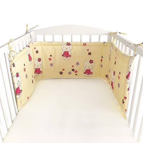 blueberryshop Baby Kleinkind Junior Bett Nestchen für Baby/Kleinkind, 150cm Länge x 35Breite, creme Kitty