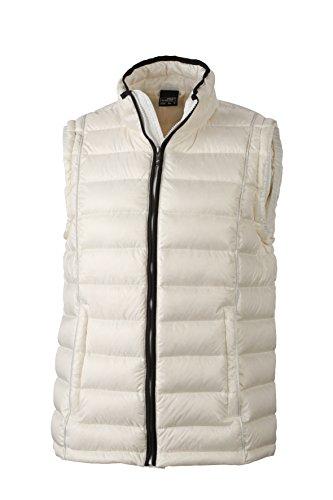 James & Nicholson Herren Jacke Daunenweste Men's Quilted Down Vest Off-White/Black