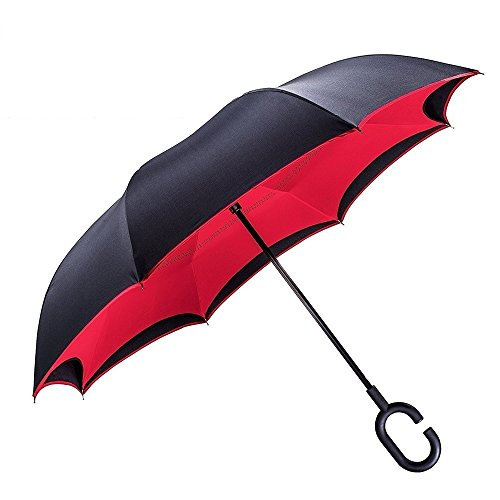 TOOGE Windproof Reverse Folding Double Layer Inverted Umbrella and Self Standing Inside Out Rain Protection Umbrella with C-shaped Hands Free Handle, Best Compact Travel Umbrella by TOOGE