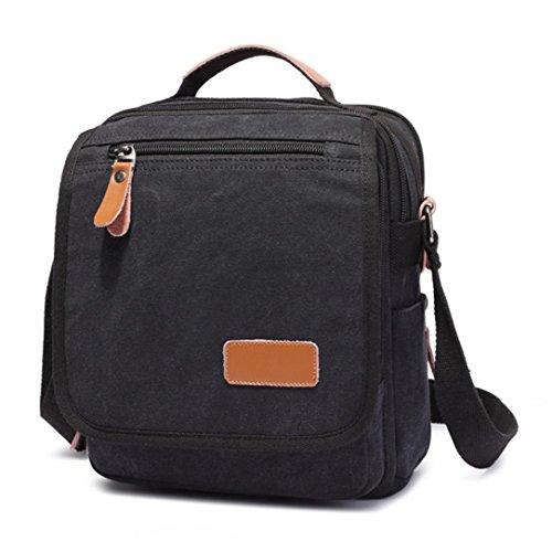 Ouneed® Kinder Schultaschen Schulrucksäcke , Herren Canvas Messenger Schultertasche Handtasche im Freien Spielraum Wandern Bag (Schwarz) (Bag Plaid Messenger Schwarz)