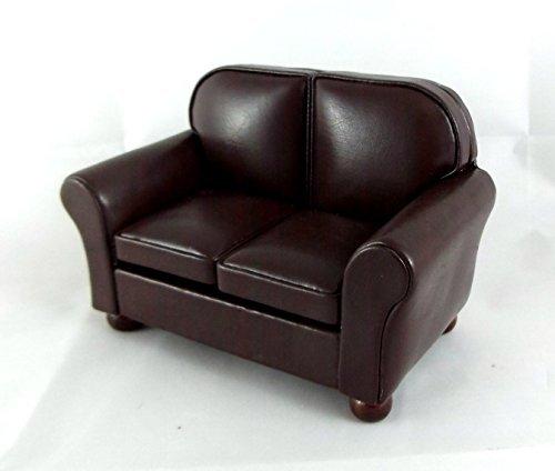 Sofá de 2 plazas de piel marrón Mobiliario de sala de estar en miniatura Esclaa 1:12 para casa de muñecas