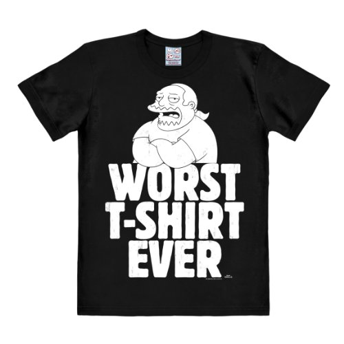 T-shirt Uomo fumetto - Worst T-Shirt Ever - maglia I Simpsons - Comic Book Guy - Worst T-shirt Ever - maglietta girocollo di LOGOSHIRT - nero - design originale concesso su licenza, taglia XL