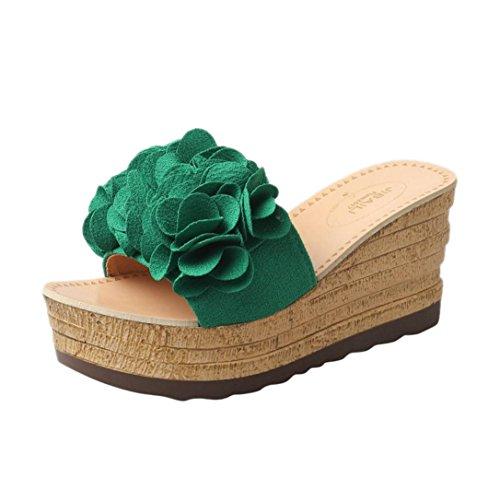 Damen Slippers, Xinan Sommer Mode High Heels Hoch Absatz Keilabsatz Sandalen Slipper Frauen Casual Outdoor Innen Leder Hausschuhe Flip Flops Strandschuhe Badeschuhe (EU:36, Grün) (Leder-peep-toe Bootie)