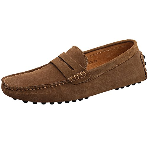 Jamron Herren Klassisch Ursprüngliches Wildleder Penny Halbschuhe Komfort Fahrende Schuhe Schlüpfen Niederung Mokassin Slippers Hausschuhe Braun 2088 EU43 -