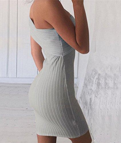 CHENGYANG Damen Elegant Off Shoulder Schlank Kleid Unregelmäßig Ärmellos Kleider Grau