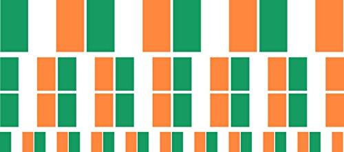 Pack glatt - 4x 51x31mm+ 12x 33x20mm + 10x 20x12mm- selbstklebender Sticker - Fahne - Irland - Flagge / Banner / Standarte fürs Auto, Büro, zu Hause und die Schule - Set of 26 (Bunting Irland)