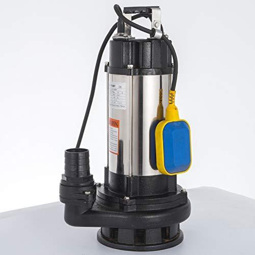 Anhon Bomba de aguas residuales sumergible de 1.5KW Bomba eléctrica de acero inoxidable para suciedad Bomba de sumidero séptico para drenaje de agua sucia con interruptor flotante