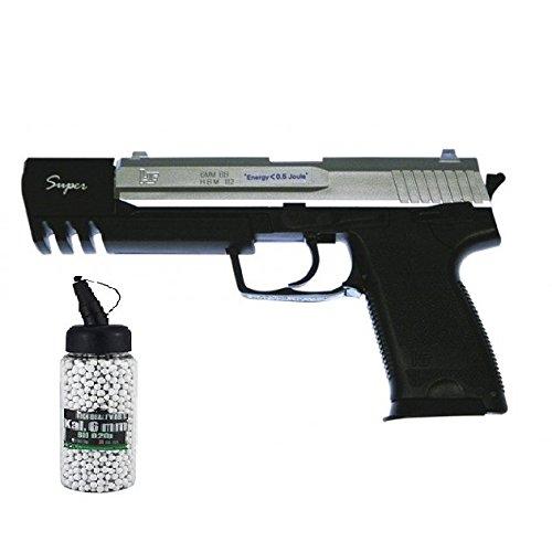 g8ds Set: Softair Pistole 112SBL Silver Black Long Profi Turnier Mit Metallteilen unter 0,5 Joule 6mm 7139 Softair Munition Bio BBS Premium Selection 2000 Stück 0,20 g 6mm