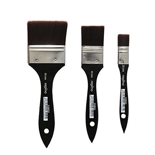 Lasurpinsel Künstlerpinsel Set feinster Qualität ( Breite 60 mm, 40 mm, 20 mm ) Grundierpinsel Verwaschpinsel Pinsel Set (Künstlerbedarf-pinsel-sets)