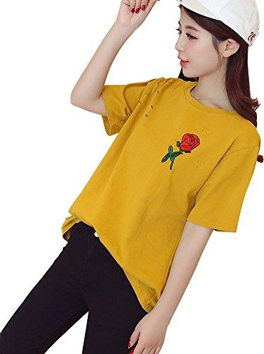 Minetom Manica Corta Donna T Shirts Maglietta Tinta Unita Maniche Corte Camicette Tee Estate Blusa O-Collo Girocollo Rose Ricamo Fori Strappati Giallo