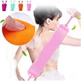 Gaddrt silicone bath gel Bath Towel Rub Brush Pull Back Strip Rub Back Belt Bathroom Tools-Made of silica gel softsafe and non-toxic-double-sided-smooth skin (Hot Pink)