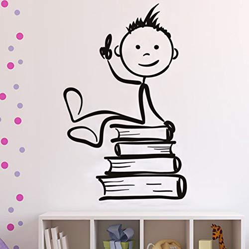 toon Jungen Sitzen Auf Die Bücher Wandaufkleber Für Kinderzimmer Kinderzimmer Wand-Dekor Abnehmbare Aufkleber Wandbild Wohnkultur ()