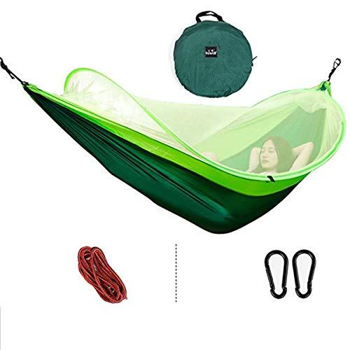LUYION Camping Hängematte mit Moskitonetz Ultraleichtes Fallschirmtuch Tragfähigkeit 200 kg Schlafsaal im Freien Schlaf Schaukel Bett Zelt,Green