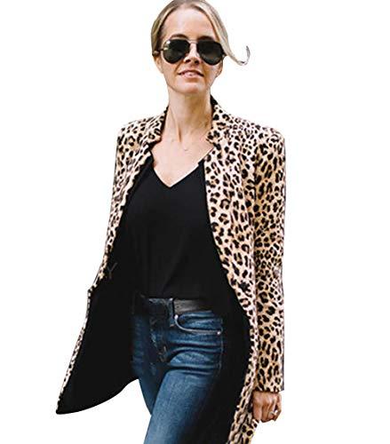 Carolilly Damen Elegante Büro Business Blazer Lang Leopard Jacke Anzug Top Kurzjacke Langarm Streetwear(S-2XL) (S, Leopard ()