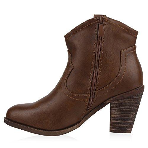 Damen Schuhe Stiefel Stiefeletten Cowboy Boots Holzoptikabsatz Braun