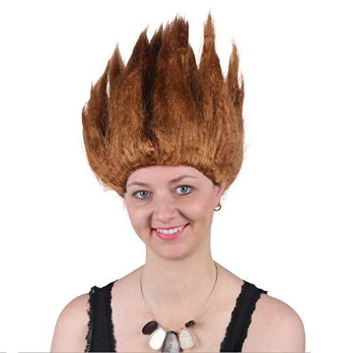 Fee Feuer Halloween Kostüm - Flammen Perücke, Cosplay Kurzes Haar Kostüm Teufel Feuer Dämon Fee Für Kopfbedeckung, Halloween Party, Vier Farben, Eine Größe,Brown