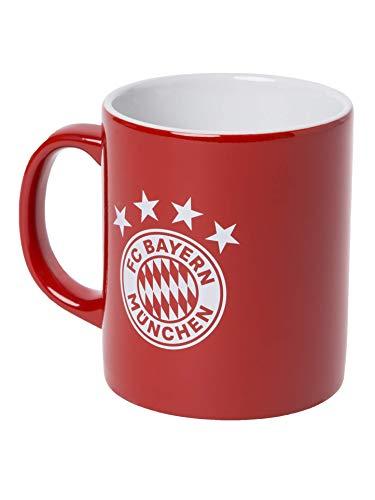 FC Bayern München Tasse rot, FCB Logo mit Vier Sternen in weiß, offizieller Kaffeebecher für Bayern-Fans