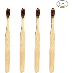 Cepillo de dientes de bambú ecológico, de madera natural. Cepillo de dientes hecho con carbón de bambú con cerdas suaves