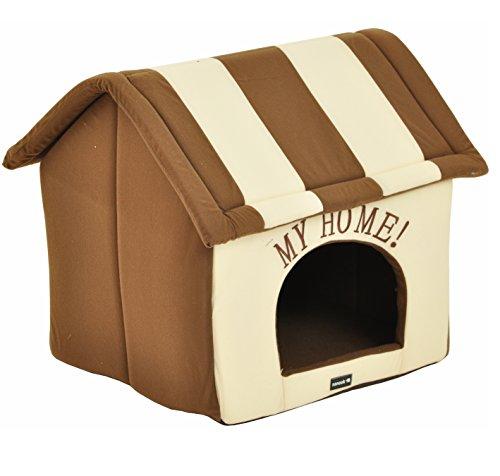 nanook Hundehaus Hundehöhle ADRIAN, Größe L mit Kissen, weicher Stoff Bezug, waschbar, warm, braun beige - 2