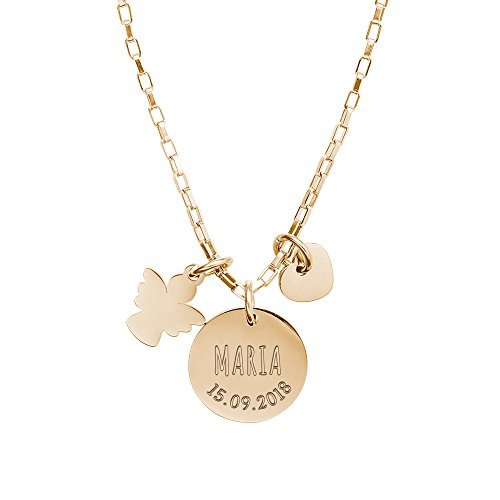Gravado Mädchen Halskette mit DREI Anhängern aus Edelstahl – Runder Anhänger mit Herz und Engel – Farbe Gold – Personalisiert mit [Name] und [Datum] – Geschenk zur Taufe, Kommunion, Konfirmation