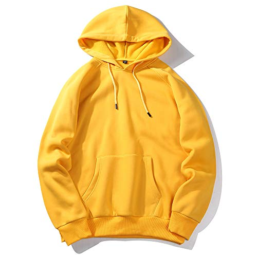 MRULIC Herren Basic Kapuzenpullover Sweatjacke Einfarbig Pullover Hoodie Sweatshirt RH-001(Gelb,EU-50/CN-2XL) -