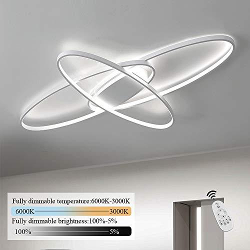 GBLY LED Dimmbar Deckenleuchte Modern Weiß Wohnzimmerlampe Warmweiß/Neutralweiß/Kaltweiß 70W Innen Dekorative Deckenbeleuchtung für Wohnzimmer, Schlafzimmer, Küche und Büro