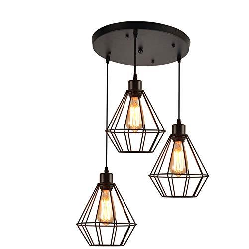 Anhänger Beleuchtung Vintage Polygon Draht Deckenleuchte, Industrielle Verstellbare Kronleuchter Leuchte Für Kitchen Island, Wohnzimmer, Restaurants Kunstdekor (Design : 3-Lights Round) -