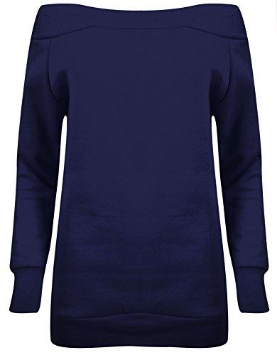 Manches longues pour femmes Off épaule Femmes en molleton Sweatshirt Bleu Marine