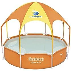 Bestway - Piscine hors sol Steel Pro ronde, avec parasol et brumisateur intégrés, diamètre 2,44 m hauteur 51 cm