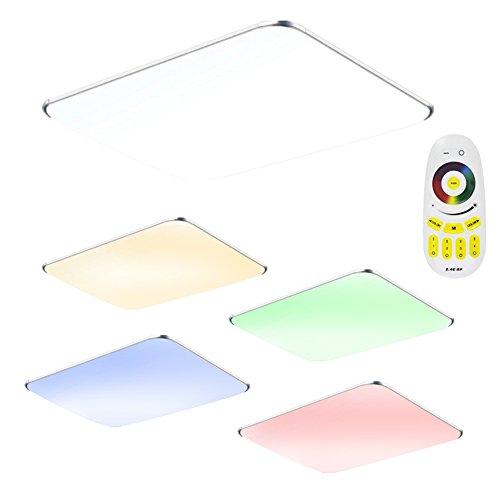 SAILUN 48W RGB Ultraslim LED Deckenleuchte Modern Deckenlampe Flur Wohnzimmer Lampe Schlafzimmer Küche Energie Sparen Licht Wandleuchte Farbe Silber (48W...