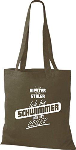 Shirtstown Stoffbeutel du bist hipster du bist styler ich bin Schwimmer das ist geiler olive