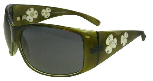 Oversize Sonnenbrille 9052fl mit Blümchen grün