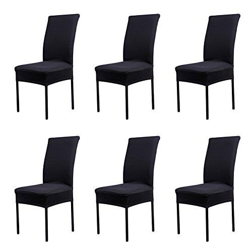 CosyVie - 6 PCS Fundas para sillas de salon fundas elasticas y lavables para protección sillas de comedor, negro