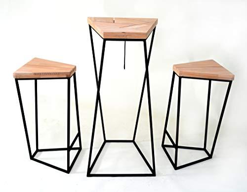 CHYRKA® Bartisch Stehtisch Manhattan Barhocker Barstuhl BarMöbel Loft Vintage Bar Industrie Design Handmade Holz Metall (Tisch + 2 Hocker)