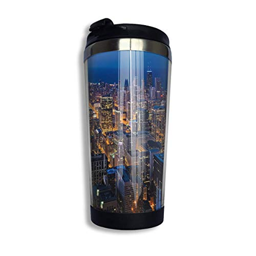 Stainless Steel Coffee Mugs Newyork City Night Travel Coffee Thermal Mug 10 Oz (400ml) Insulated Cup Perfect for Travel, Camping, Hiking, The Beach and Sports (City Tumbler York New)