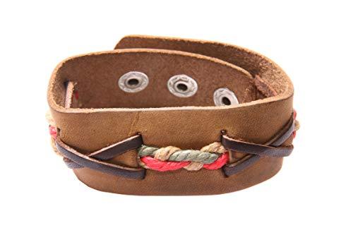 Pulsera de cinturón marrón unisex estilo hippie boho con cuerdas de color beige, verde y rojo trenzadas a presión y cierre de broche para la mayoría (T607)