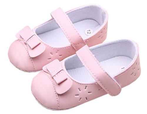Smile YKK Baby Mädchen Lauflernschuhe Klettverschluss Ballet-Stil Schleife Deko Pink Pink