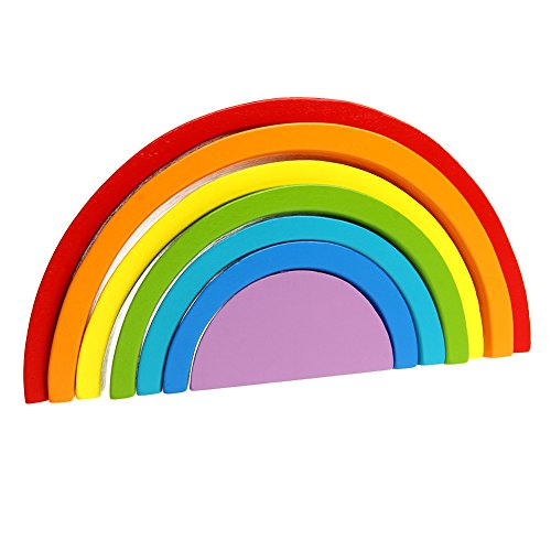JAGENIE - Juego de 7 Bloques de construcción de arcoíris de Madera Colorida para bebé