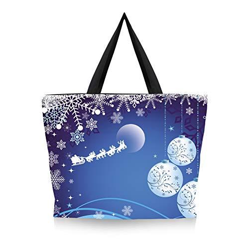OOFAY Women's Canvas Bag, Wiederverwendbare Öko-Tasche Für Weihnachten Shopping Travel Arbeit Täglichen Gebrauch Schulter Zipper Beach Holiday Tote Hohe Kapazität Damen Handtasche