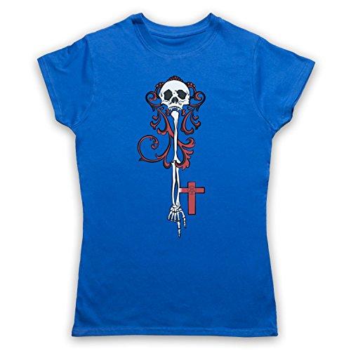 Skeleton Key Gothic Illustration Damen T-Shirt Blau