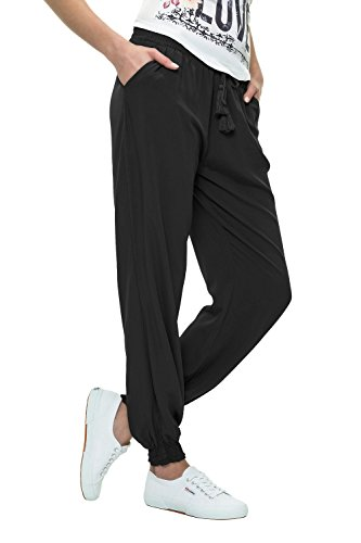 Hailys Damen Sommerhose Freizeithose Strandhose Basic (M, Black)