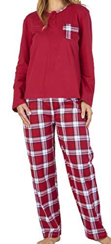 Slenderella Damen Luxus-rote Ebene & Check-Print 100% weicher Baumwoll Flanell 3 Knopf Lange Ärmel & Hose Pyjamas klein